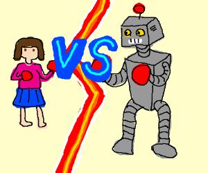 Little girl VS Robot in Boxing match