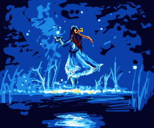 Girl By A Pond At Night Catching Fireflies Drawception