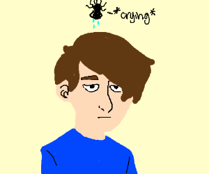 crying spider floating above poker face head
