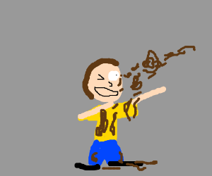 Morty gets squirted by chocolate sauce
