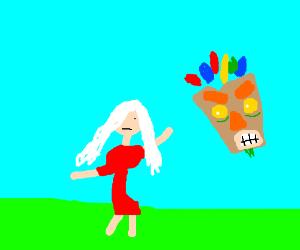 albino woman strikes a pose while mask glares