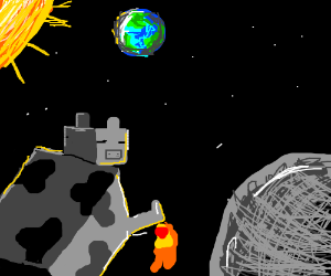 A robot cow jumping over the moon