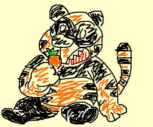 panda tiger eating a carrot