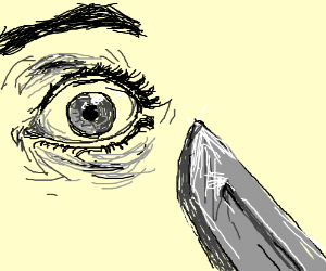 Knife about to stab eye