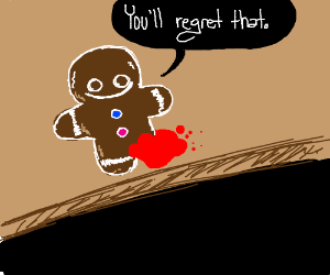 A gingerbread man with a bite of his leg gone