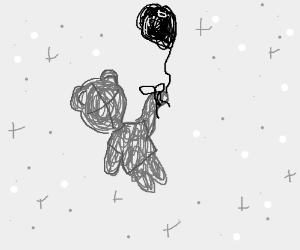 Winnie the pooh hanged to a baloon