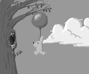 Bear holds onto balloon, and flies.