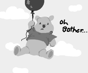 Winnie the pooh floating with a balloon