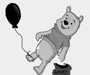 Winnie the Pooh has balloon tied to his foot