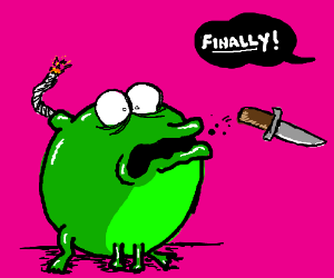 green frog bomb finally spits out knife
