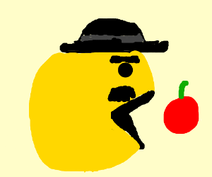 Charlie chaplin turned into pacman chases fruit - Drawception