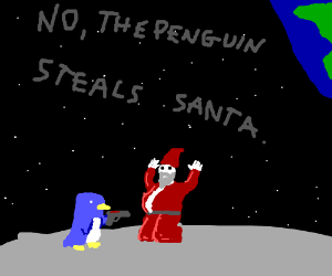 Santa steals a penguin.