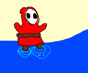 Shy guy plays in the water