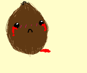 The coconut is crying blood :v