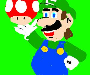 Luigi holding a mushroom