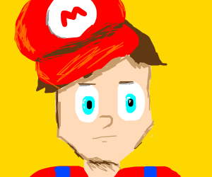 A real man in a Mario costume