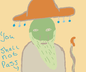 Gandalf but green and wearing a sombrero