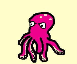 angry pink octopus