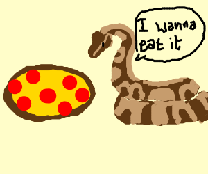 Snake with tintin's dogsheadforaheadeatinpizza