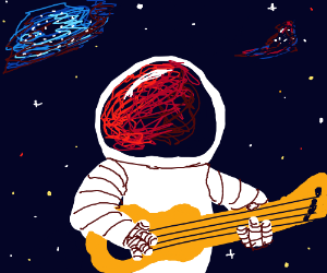 An astronaut plays ukulele in space