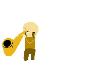 Man bleeds from cheek while playing sax