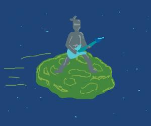 ninja plays a rock guitar on an meteor (wow)