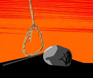 rock contemplates suicide at sunset
