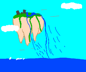 Floating island with a waterfall and a city,