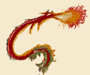 Red Chinese Dragon Breaths Fire
