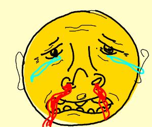 Crying nose bleed emoji