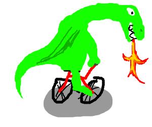 A dragon on a bike