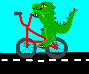 Dragon on a tiny bike