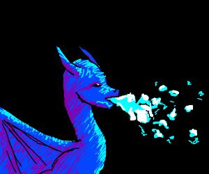blue dragon breathing ice