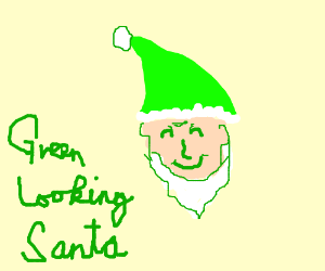 green looking santa