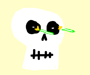 Skull shooting laser out of it's eye holes