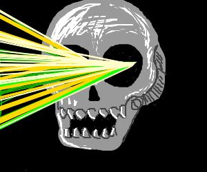 Lasers from eye sockets of flying robot skulls