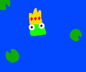 Frog King floating in the water