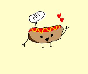 happy waving hot dog