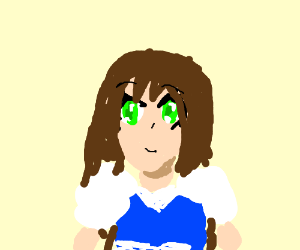 Cute Girl W Green Eyes Long Brown Hair N Bangs Drawception