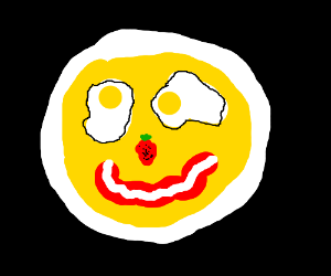 Two egg eyes. A strawberry nose. A bacon smile