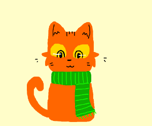 Cat (Orange fur, yellow eyes, green scarf)