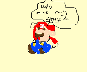 Mario irritated at Lugui about the Spagett