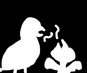 Silhouette of an eagle feeding their kid