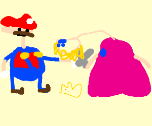 Mario wants some of Peach's fuzz