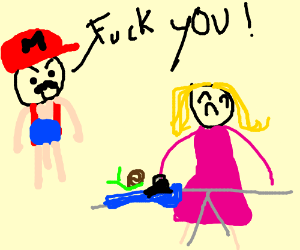 Mario yelling at wife for ironing too slowly