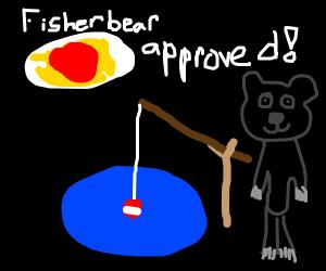 Fisher bear loves spaghett