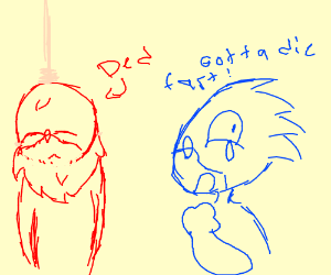 knuckels did a suicide and sonic is sad