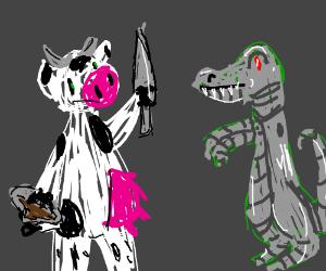 warrior cow and robot crocodile