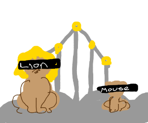 Lion and mouse in heaven