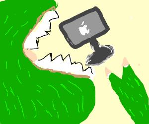 dinosaur eats computer
